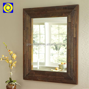 Wall mounted wooden frame carving bathroom mirror decorative wood antique window mirror mirrors decor wall