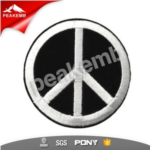 BLACK & WHITE PEACE SIGN SYMBOL Embroidered Iron on Patch