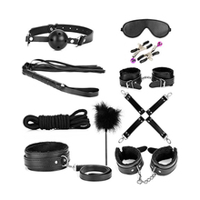 Furry PU Female Male Fetish Bdsm Restraint Set Leather Bondage Kit 10pcs for Adult Sex Toy