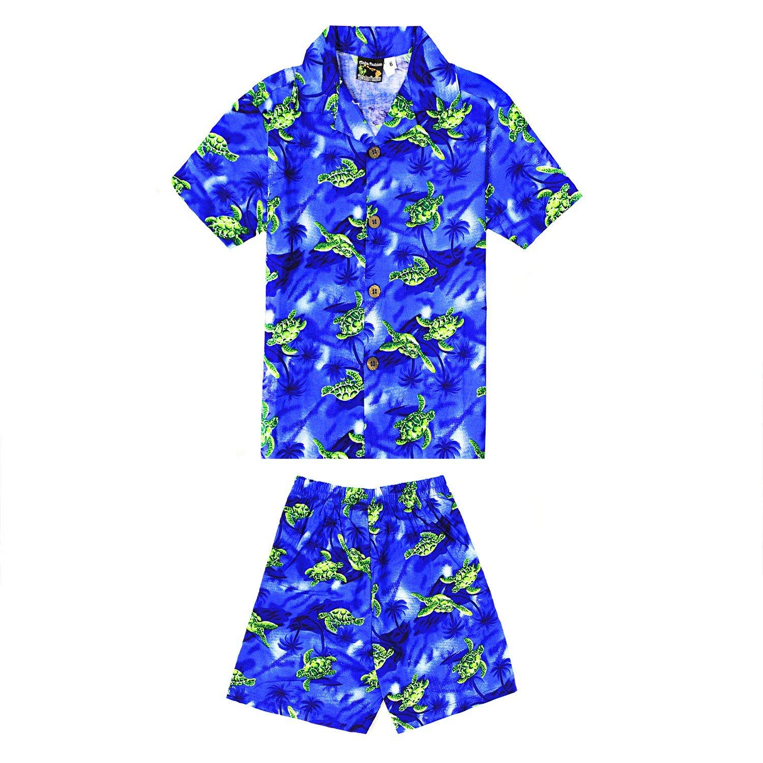 2bec6a7b Get Quotations · Boy Hawaiian Aloha Luau Shirt and Shorts 2 Piece Cabana Set  In Blue With Green Turtles