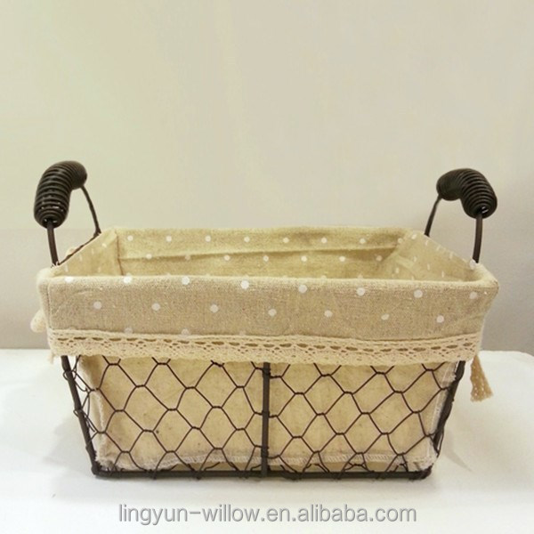 high quality decorative wire basket rectangular shape with fabric lining for food