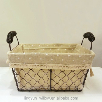High Quality Decorative Wire Basket Rectangular Shape With Fabric Lining For Food Buy Decorative Wire Basket With Fabric Lining Rectangular Wire