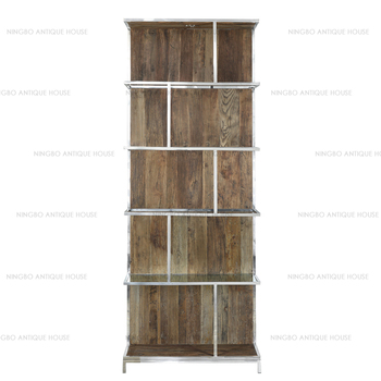 Classic French Reproduction Living Room Recycled Elm With Stainless Frame Furniture Vintage Wooden Bookshelf