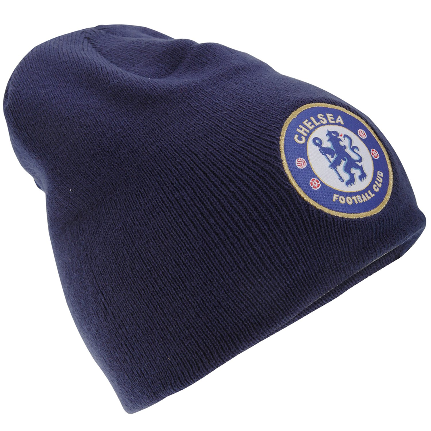 34419e11fbc Get Quotations · Chelsea FC Mens Official Knitted Winter Football Crest  Beanie Hat