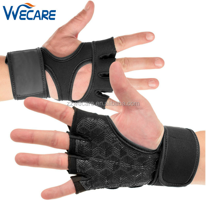 Silicone Leather Padded Workout Hand Grips WOD Gymnast Wrist Wraps Cross Training Gloves