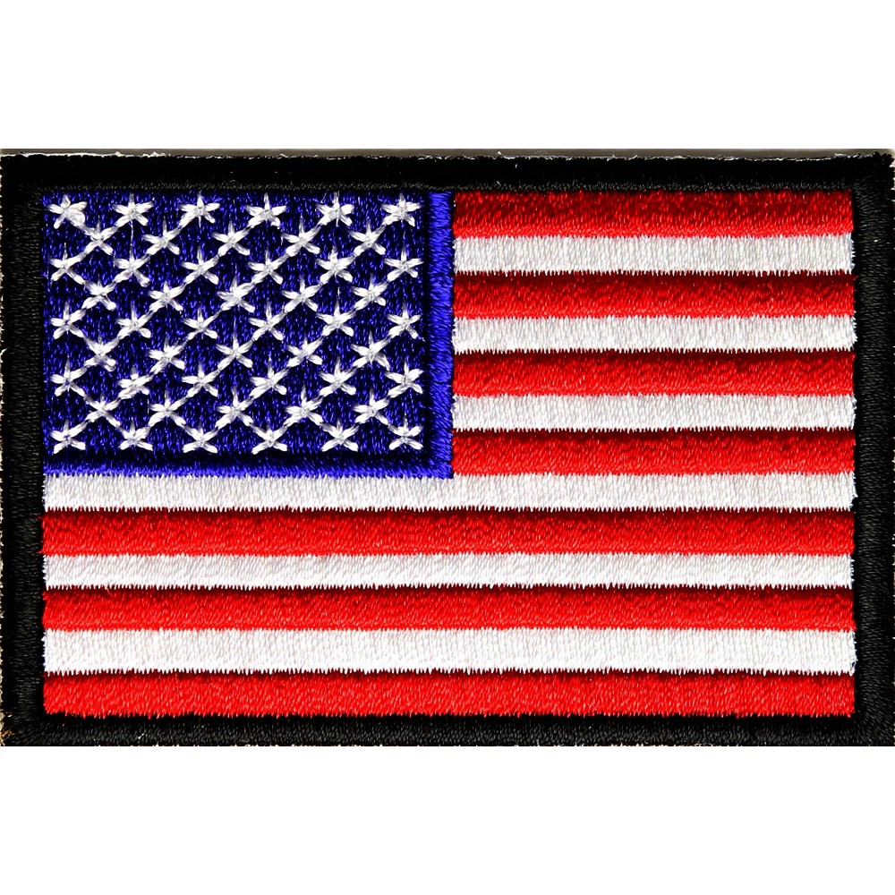 Patch2017A-3 Inch Small US Flag Black Border Patch