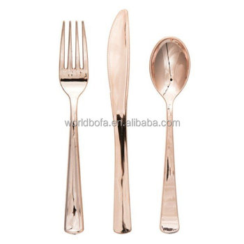 Restaurant party supply disposable silverand gold rim plastic PS cutlery set