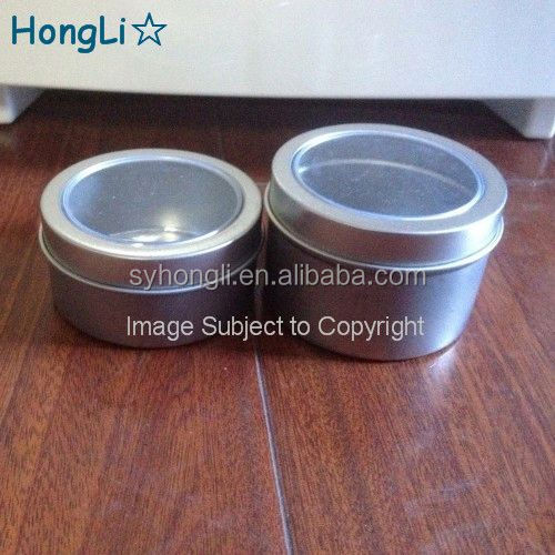 Fancy Mini Tin Candle Can With PVC Window Lids