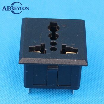 Electrical power socket panel fuse mount with protection 10A 250V ac jack plug socket
