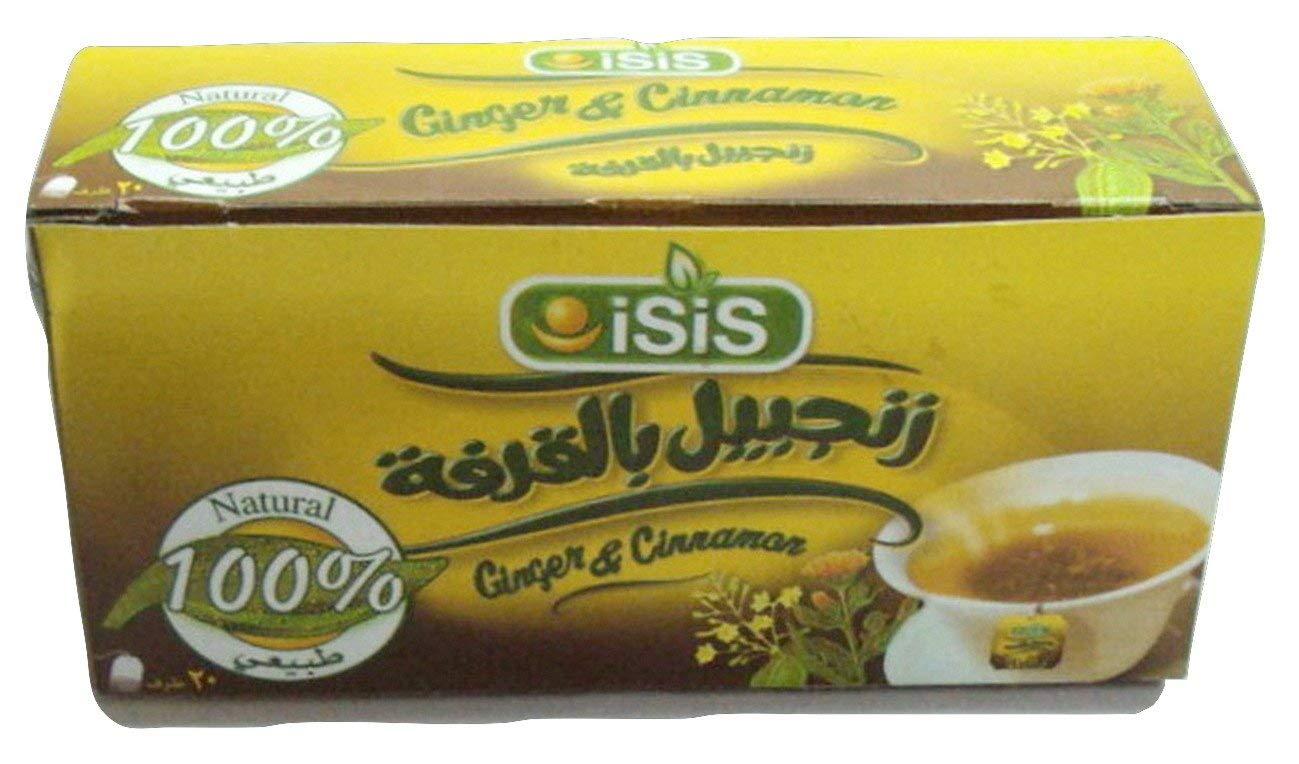 100% Organic Natural Isis Herbal Ginger & Cinnamon & Tea 25, 50 Bags زنجبيل بالقرفة (50 Bags) 384