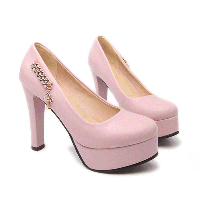 Rhinestone High Heels Shoes Woman 2015 New Fashion Wedge Platform Women Pumps Round Toe Comfortable Shoes Rhinestone High Heels