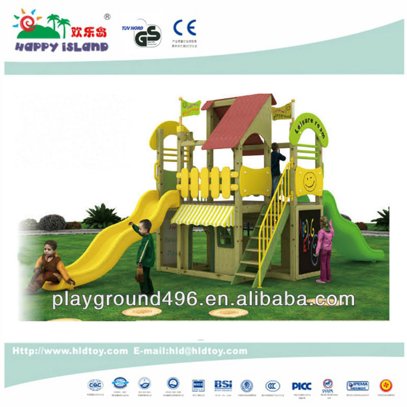 Kids playground wooden playhouse with slide