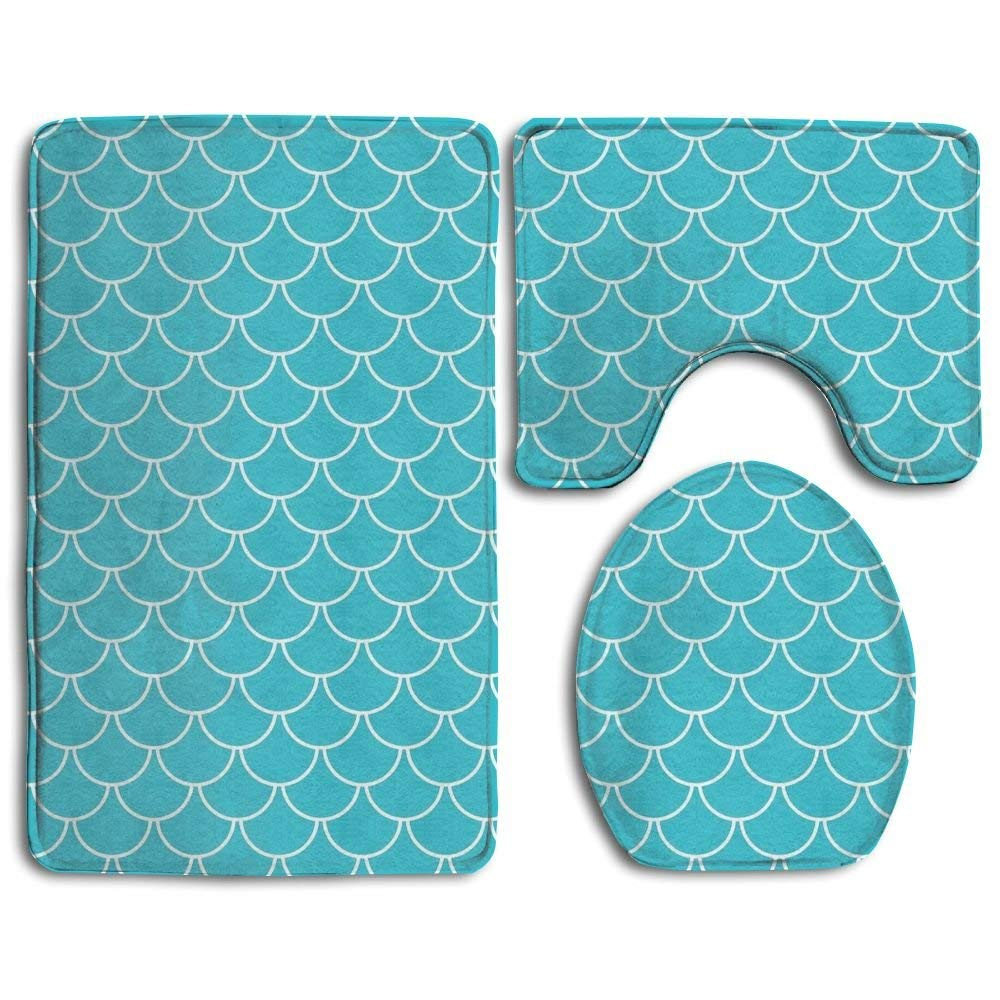 HOMESTORES Perfect Gifts - Ocean Sea Blue Mermaid Fish Scale Thicken Skidproof Toilet Seat U Shaped Cover Bath Mat Lid Cover