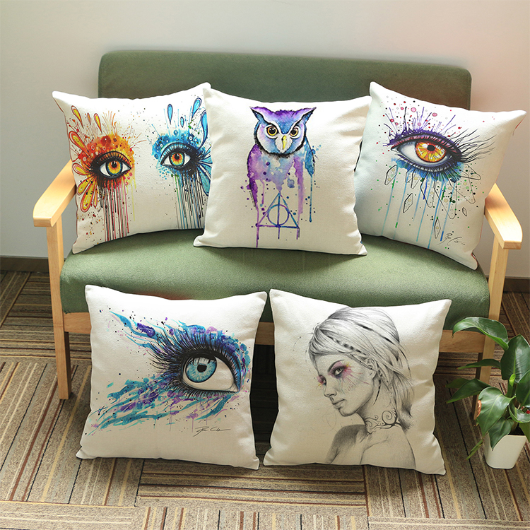 Colorful cute eyes wall sticker 45*45cm Pattern printing Luxury home Decorate outdoor Car sofa seat cushion cushions pillow