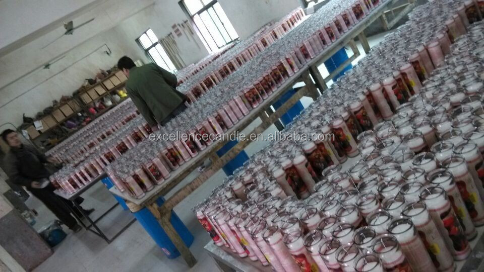 OEM exported religious glass jar 7 day candle glass wholesale
