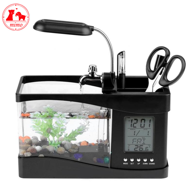 5 V USB Acryl Desktop Aquarium Mini Aquarium Aquarium met LED Lamp Licht LCD Timer Klok Scherm en klok Mini