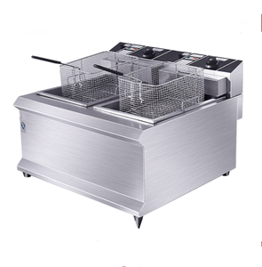 Commercial Counter Top Automatic French Chips Frying Machine /Electric Fried Chicken Machine/Double Tank 12L Fryer
