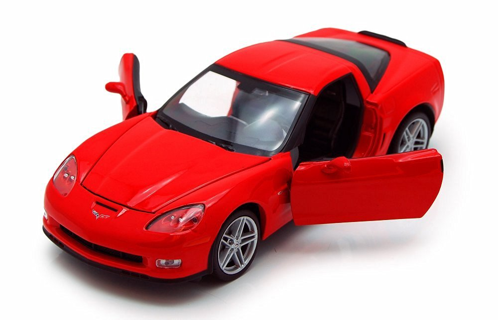 2007 Chevy Corvette, Red - Welly 22504 - 1/24 scale Diecast Model Toy Car