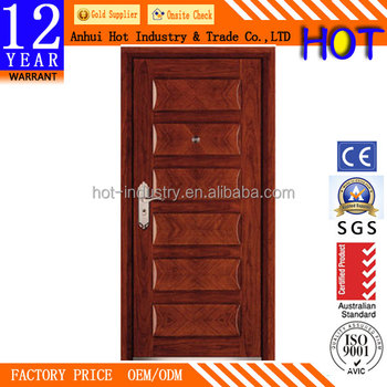 Perfect China Supplier Price Modern Style Main Gate Wood Steel Security Armor Door