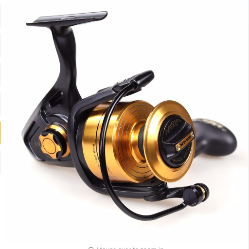 100% Original PENN SPINFISHER V Spinning Reel Full Metal Body Spinning Reels Pure Battle II3000-8000, Black and gold