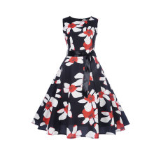 Vintage A-line Summer floral formal ladies cotton print dresses