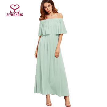 dc78d4c064edf 2017 summer fashion green mint off the shoulder double neck chiffon ruffle  maxi prom dress