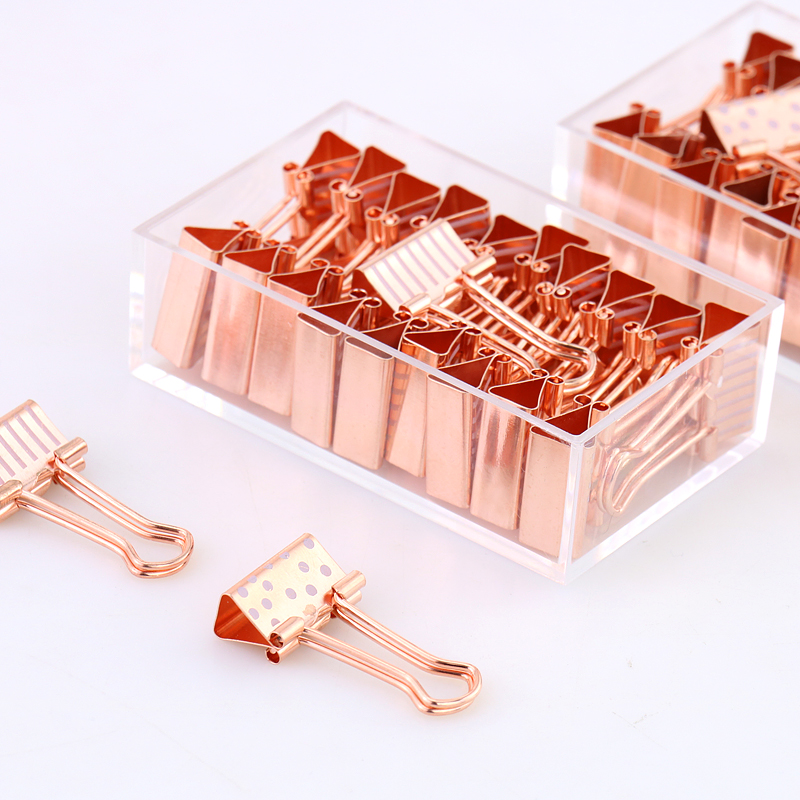 Custom Small Size 19mm 20 pcs rose 금 printing metal paper 바인더 clips