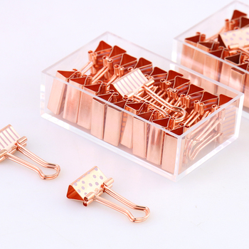 Hot sale 19mm rose gold printing metal custom binder clips used for office school supplies