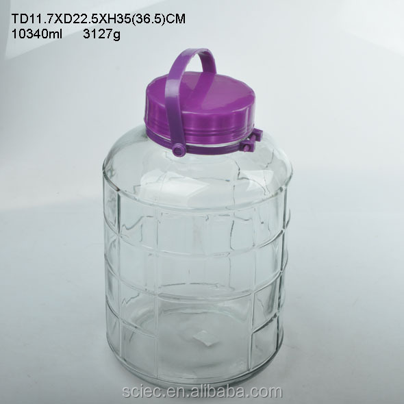 Food grade 15l airtight glass jar with red hang lid