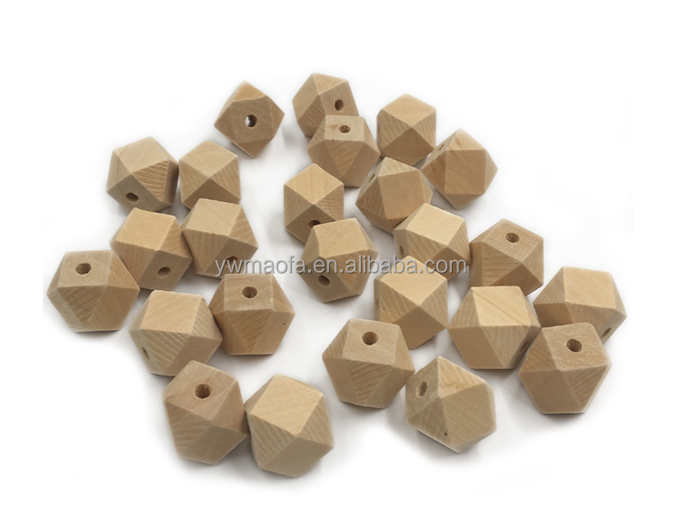 Wholesale Eco-friendly Natural Wooden Octagonal Beads For teether Toys High Quality DIY Necklace Components, Nature color