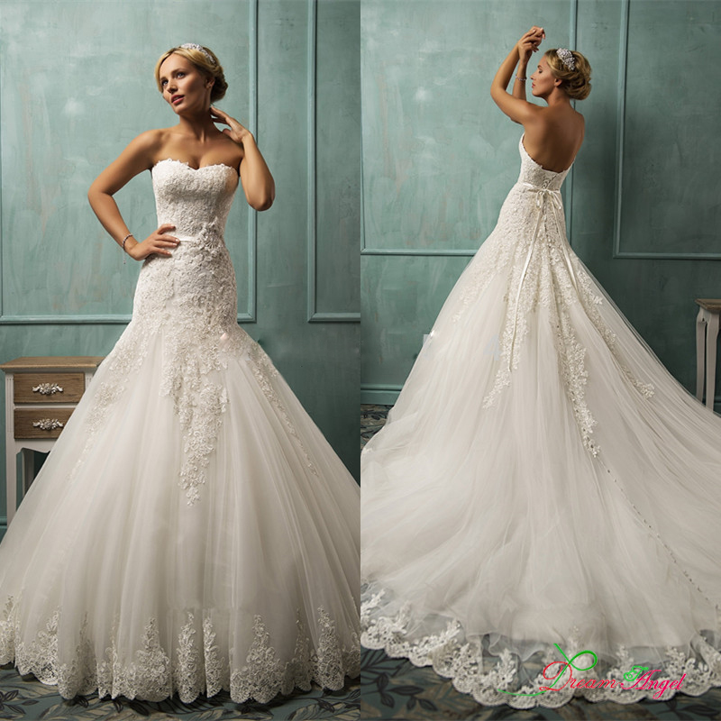 bb2294ee5767a 2016 Elegant Lace Mermaid Wedding Dress with Sweep Train Bridal Gowns Grace  Strapless Trumpet Dresses With Sash Vestido De Noiva