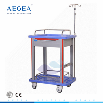 AG-LPT006B ABS hospital crash cart medical service utility carts plastic trolley with wheels