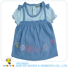 Latest design 100%cotton chambray 3 years old girls dresses for sale