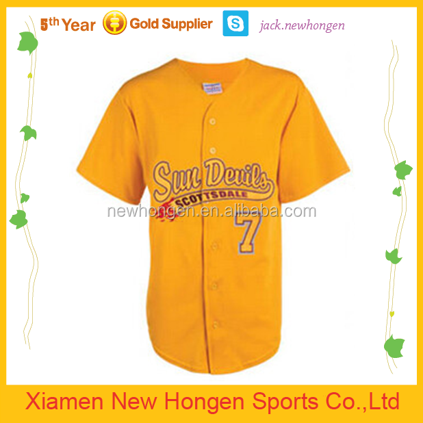 Geel kleur baseball jerseys, honkbal uniformen