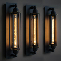 black long design indoor iron led industrial vintage wall sconce lamp