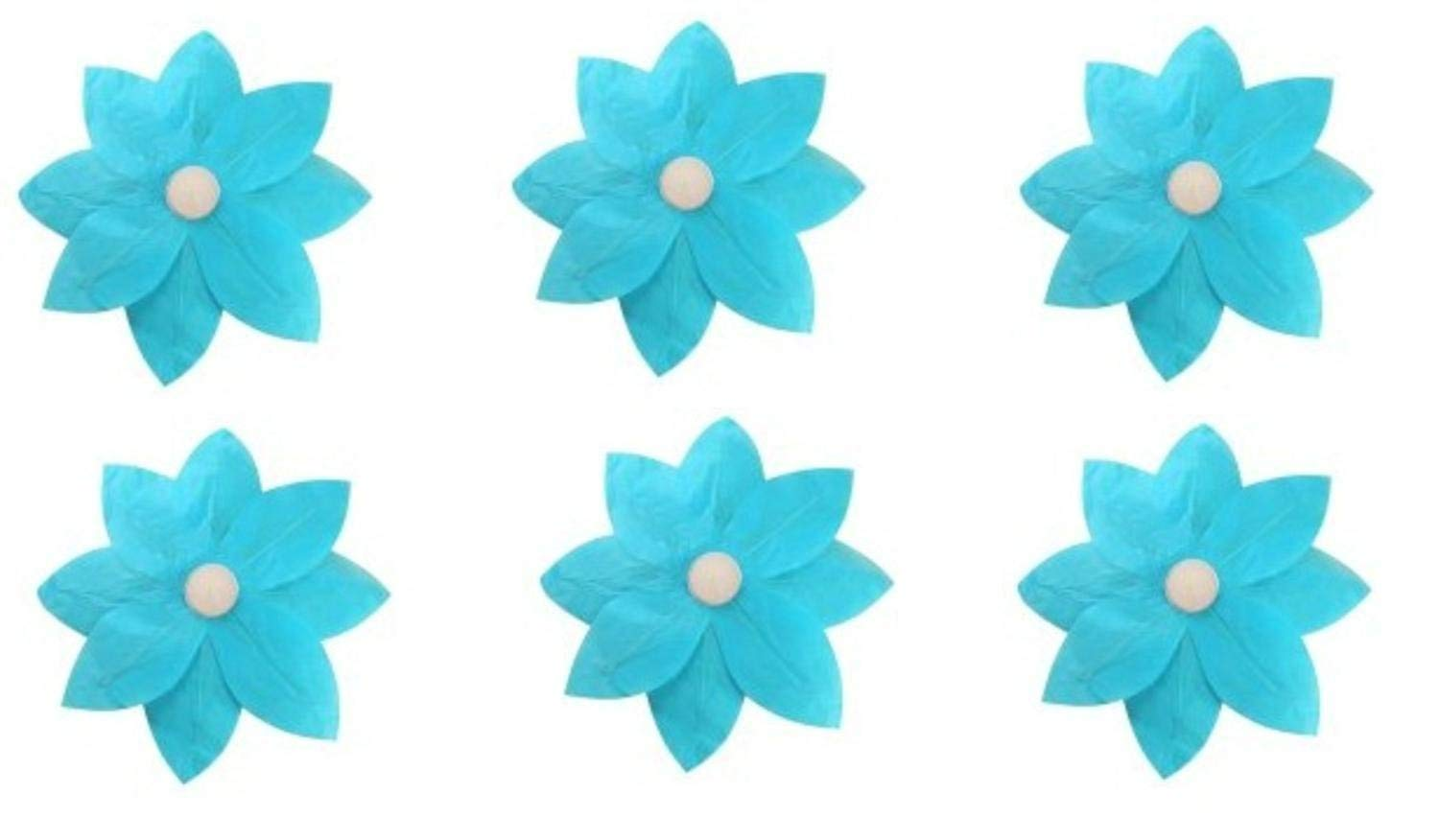 Pack of 6 Turquoise Floating Lotus Paper Flower Outdoor Patio Decor Lanterns