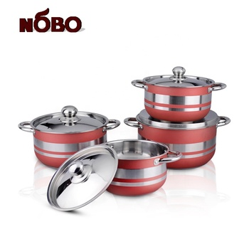 Good quality wholesale NOBO 8-Piece double bottom stainless steel cookware with customized color