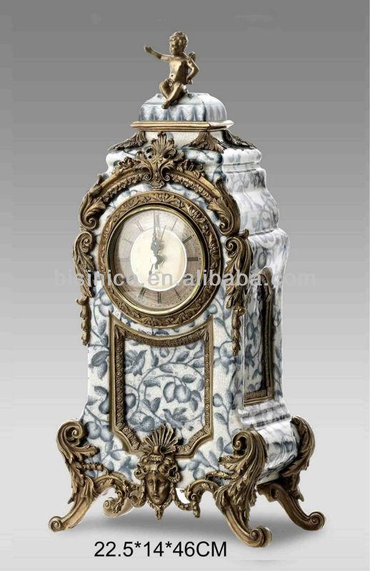 European Classical Bronze Porcelain Table Clock,Vintage Gold Plated  Decoration Clock,Cherub Blue U0026 White Porcelain Desk Clock   Buy Antique  Porcelain With ...
