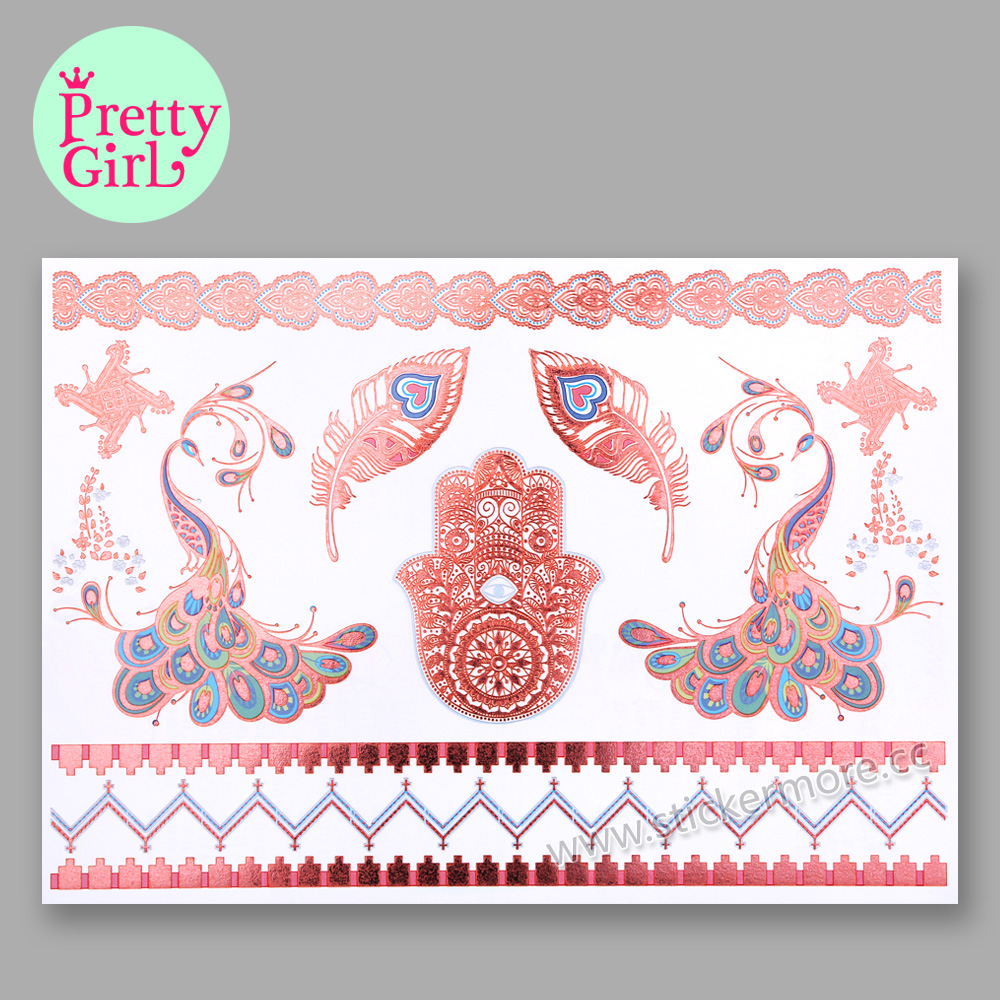 Hot Sell Metallic Temporary Tattoo Sticker Body Sexy Temporary Tattoo For Nail GTB-001pink