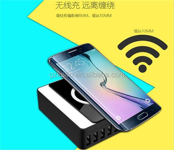 multi t l phone portable station de recharge 8 multiples port usb chargeur sans fil qi chargeur. Black Bedroom Furniture Sets. Home Design Ideas