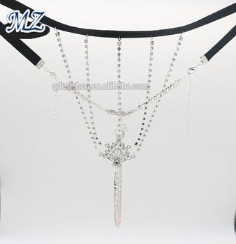5485ca4a0cbc Sexy diamante de diamantes de imitación cadena bikini cuerpo de cristal  panty ropa interior de la