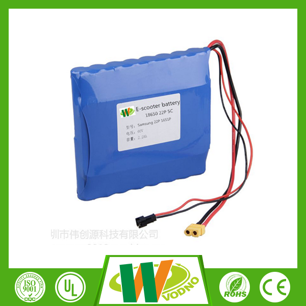 Factory direct 60V 2.2Ah electric motorcycle battery pack,lithium ion battery pack
