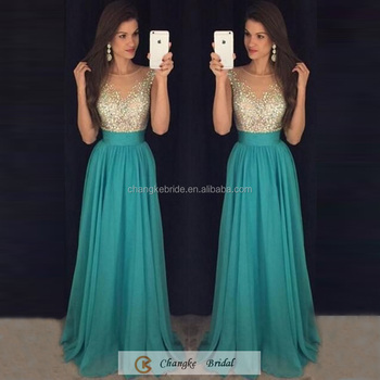 Charming Evening Party Gown Cap Sleeve Sequins Chiffon Long Prom ...