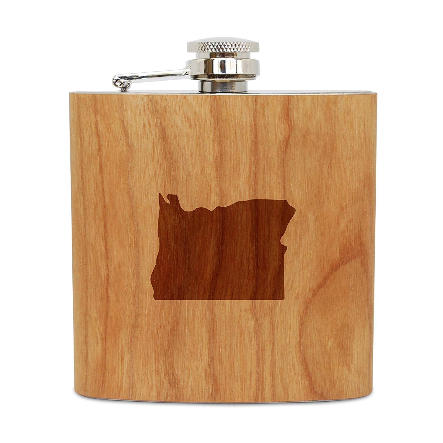 WOODEN ACCESSORIES COMPANY Cherry Wood Flask With Stainless Steel Body - Laser Engraved Flask With Oregon Design - 6 Oz Wood Hip Flask Handmade In USA