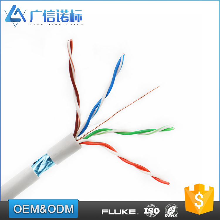 Indoor 1000ft 24awg Al-Foil Shield cat5e ftp lan cable 305 meter