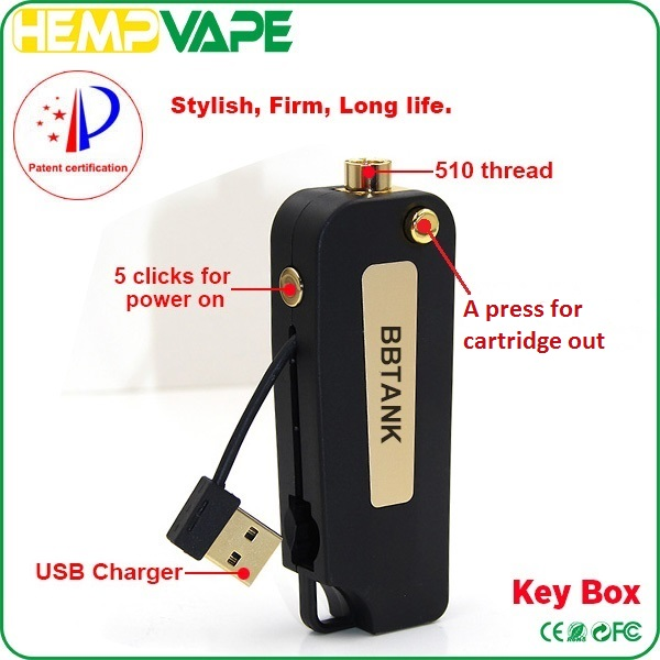 Hot new product BBtank 510 thread key box battery vape cartridge USB inside Portable fashion vapor starter kits & packaging