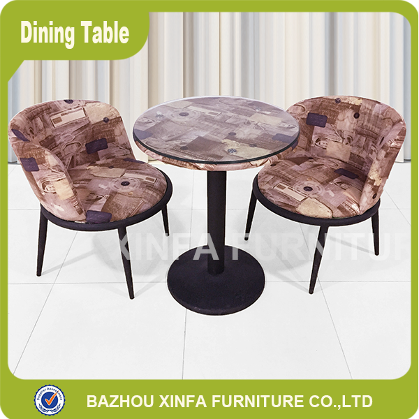 Modern imitation old style design round glass top metal dining table