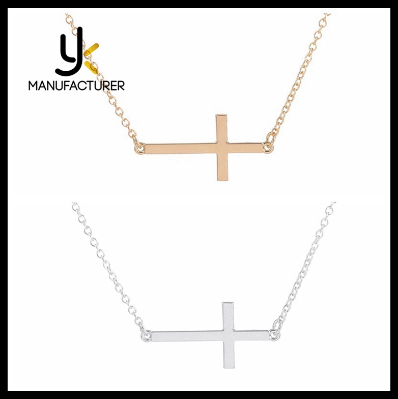 2017 Trends Popular Silver Rose Gold Copper Inverted Cross Pendant Necklace For Women Jewelry