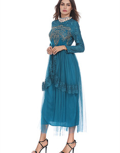 Fashion Muslim Ladies Lace Abaya Dress Kaftan Abaya Dubai Islamic Dress