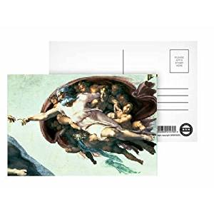 Sistine Chapel Ceiling: Creation of Adam, 1510 (fresco) (post restoration) (detail of 77430) by Michelangelo Buonarroti - Postcard (Pack of 8) - 6x4 inch - Art247 Highest Quality - Standard Size - Pack Of 8